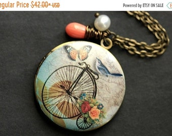 HALLOWEEN SALE Bluebird Locket Necklace. Bicycle Locket Necklace. Bird Necklace with Pink Coral Teardrop and Pearl. Photo Locket Necklace. H