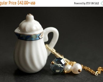 SUMMER SALE Porcelain Teapot Necklace. Geometric Tea Pot Necklace with Blue Crystal and Pearl Charms. Blue Necklace. Gold Necklace. Handmade