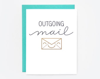 """Gold Foil """"Outgoing Mail"""" Greeting Card"""