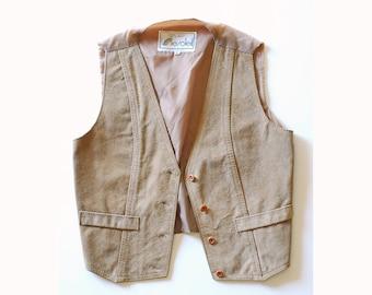 vintage taupe suede vest / size medium
