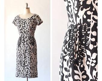 vintage 1950s black and white botanical print cotton dress / size medium