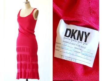 vintage DKNY watermelon silk knit dress / size xs small