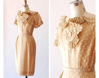 vintage 1950s silk polka dot dress / size xs small