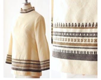 vintage Norwegian Gripstads Veverti woven wool folk top / size medium