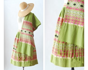 vintage 1950s Guatemalan handwoven skirt and wrap set / size small