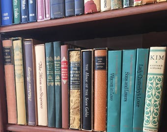 collection of vintage books / classic literature novels / jane eyre / wuthering heights / pride and prejudice / madame bovary