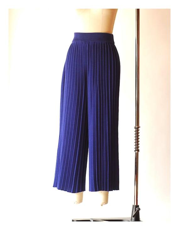 vintage blue pima cotton pleated knit pants  / si… - image 6