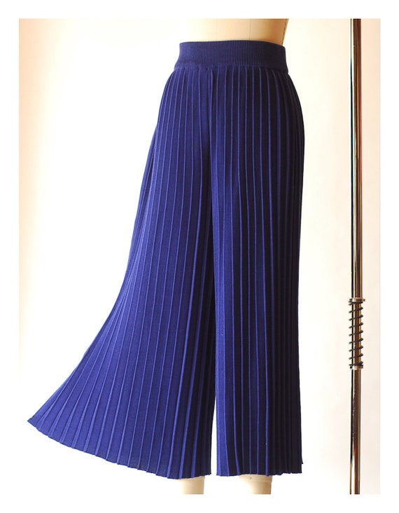 vintage blue pima cotton pleated knit pants  / si… - image 5