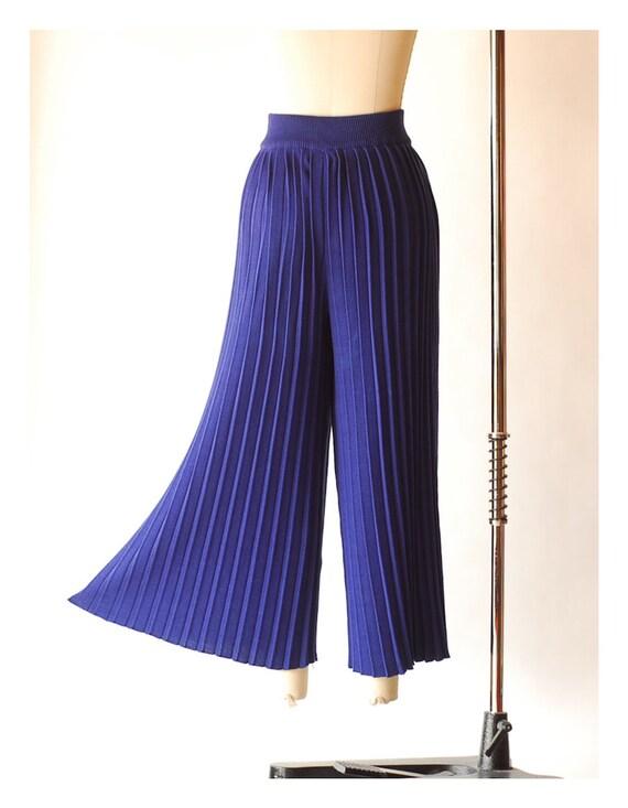 vintage blue pima cotton pleated knit pants  / si… - image 4
