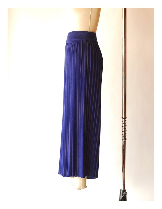 vintage blue pima cotton pleated knit pants  / si… - image 3