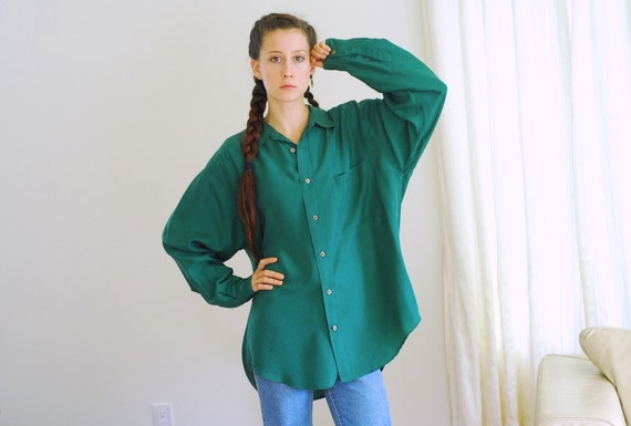 vintage forest green silk blouse / size medium lar