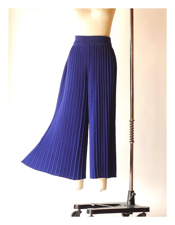 vintage blue pima cotton pleated knit pants  / si… - image 2
