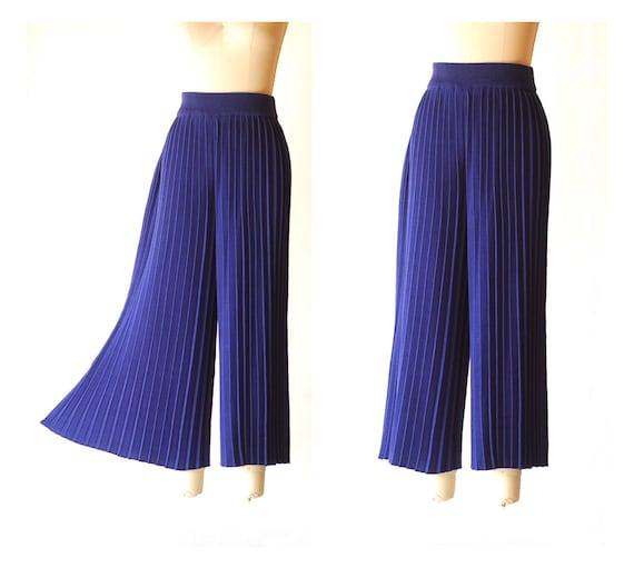 vintage blue pima cotton pleated knit pants  / si… - image 1