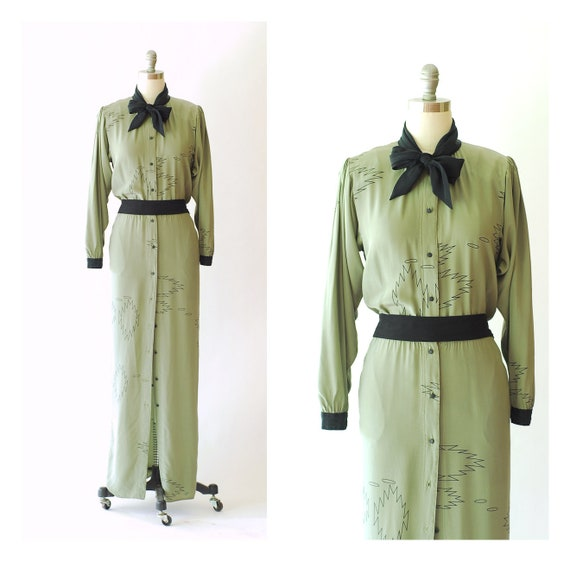 vintage Michaele Vollbracht sage green silk full l