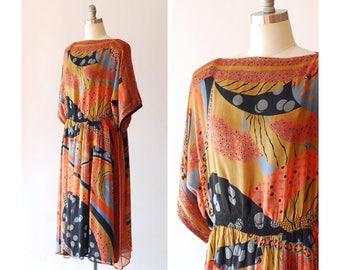 vintage 1970s Judith Ann Indian silk dress / size large extra large