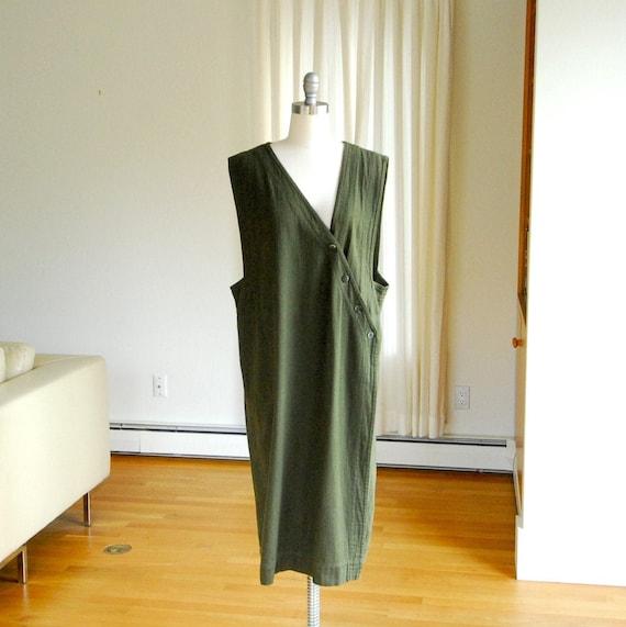 vintage Junko Sagawa green cotton long duster vest
