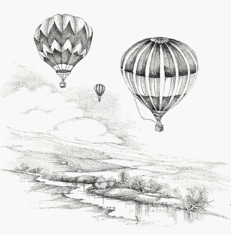 Hot Air Balloons Flight Countryside Cottage Print Black White Sketching Pencil Drawing Art Flight Floating Christian Prints Religious Art