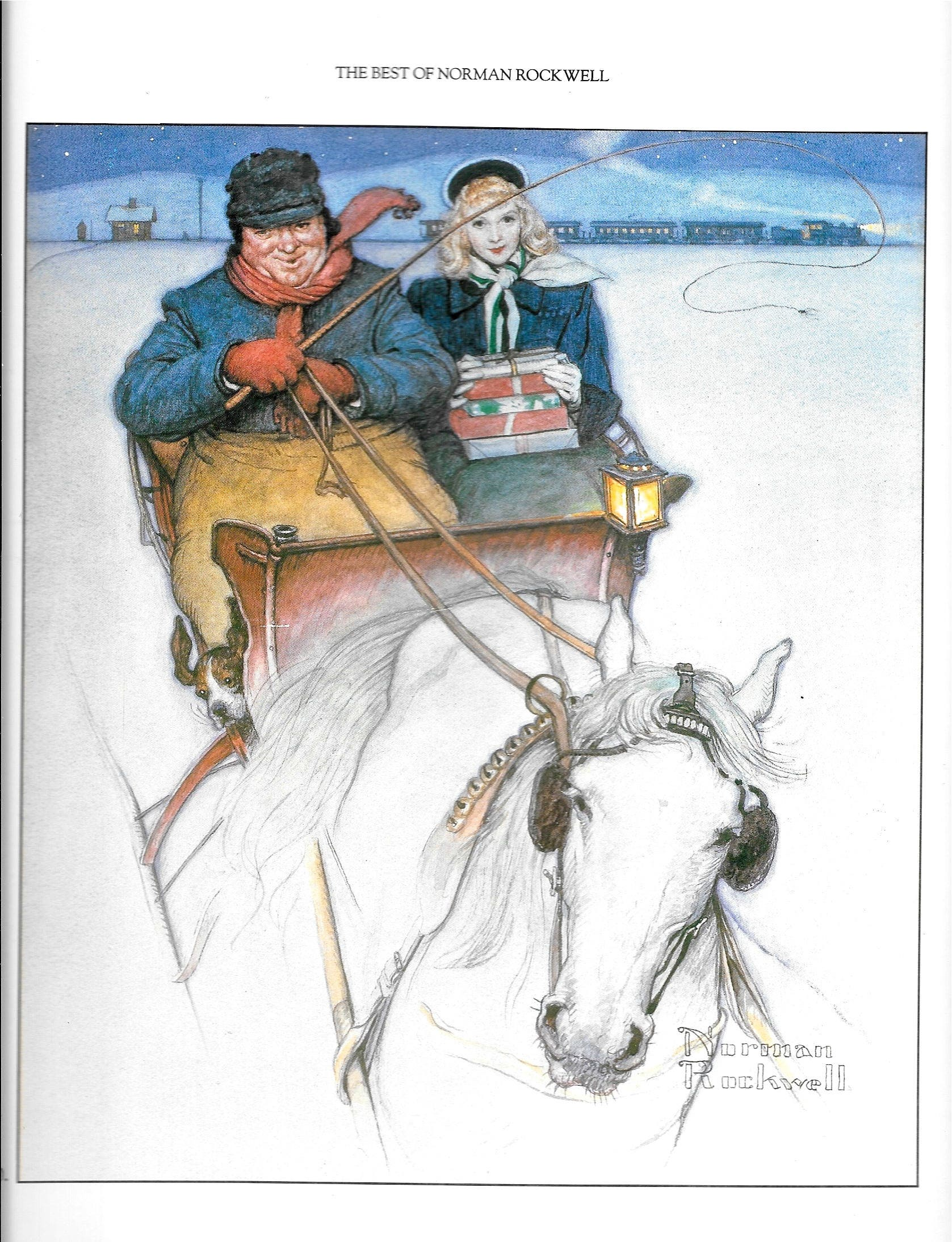 Large Norman Rockwell Print Homecoming Sleigh Ride Horse Etsy