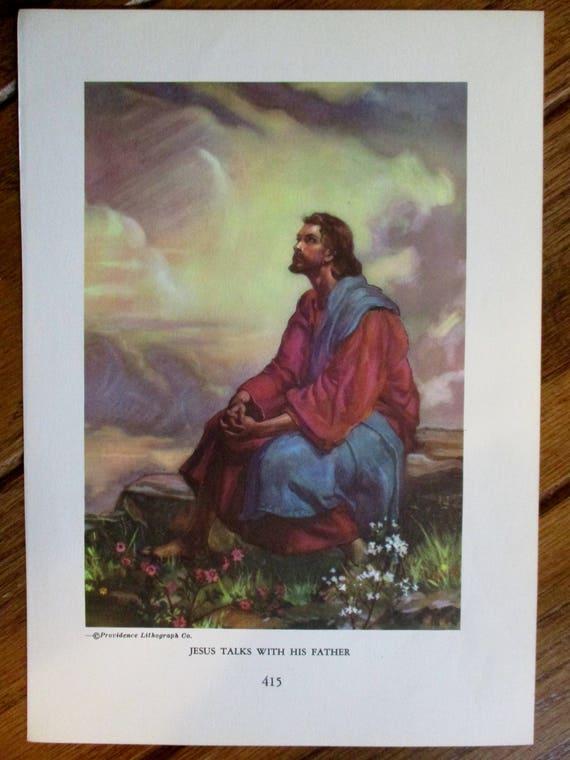 Vintage Bible Story Prints JESUS PRAYING Children NURSERY Print Lilies of Field Childs Room Decor Nursery Decor Vintage Child's Bible art
