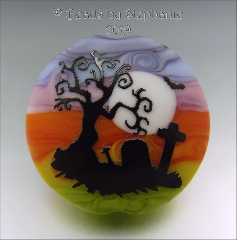 SPOOKY CEMETERY   Sandblasted Lampwork Focal Bead    Made to image 0