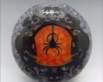 SPOOKY SPIDER & SKULLS –  Sandblasted Lampwork Focal Bead  –  Made to Order - Halloween Pendant Bead - by Stephanie Gough sra fhfteam leteam