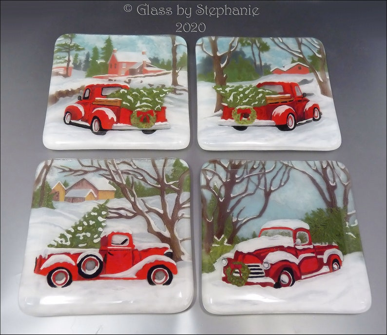 RED CHRISTMAS TRUCK Coaster Set  Hand painted and Fused Glass image 0