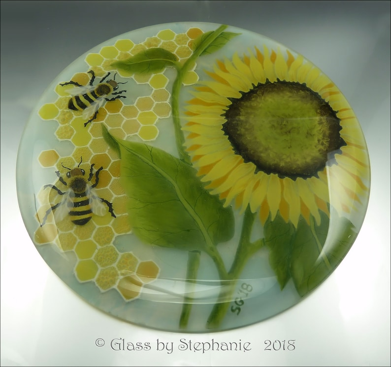 SUNFLOWER  Bees & Honeycomb  Art Glass Plate image 0