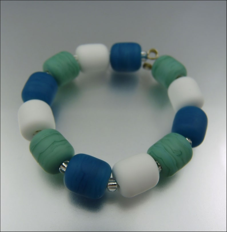 SEAFOAM FROST  Made to Order  Lampwork Spacer Combo Bead Set image 0