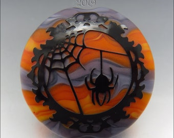 SPOOKY SPIDER WEB –  Sandblasted Lampwork Focal Bead  –  Made to Order - Halloween Pendant Bead - by Stephanie Gough sra fhfteam leteam