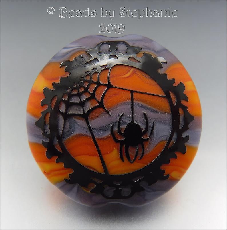 SPOOKY SPIDER WEB   Sandblasted Lampwork Focal Bead    Made image 0