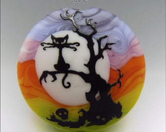 SPOOKY CAT up a TREE –  Sandblasted Lampwork Focal Bead  –  Made to Order - Halloween Pendant Bead - by Stephanie Gough sra fhfteam leteam