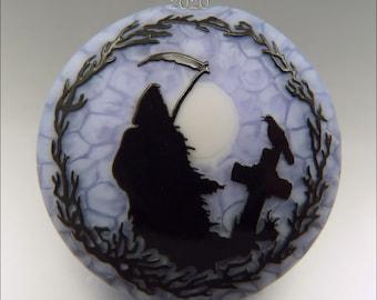 GRIM REAPER - Sandblasted Lampwork Focal Bead  –  Made to Order - Halloween Pendant Bead - by Stephanie Gough sra fhfteam leteam