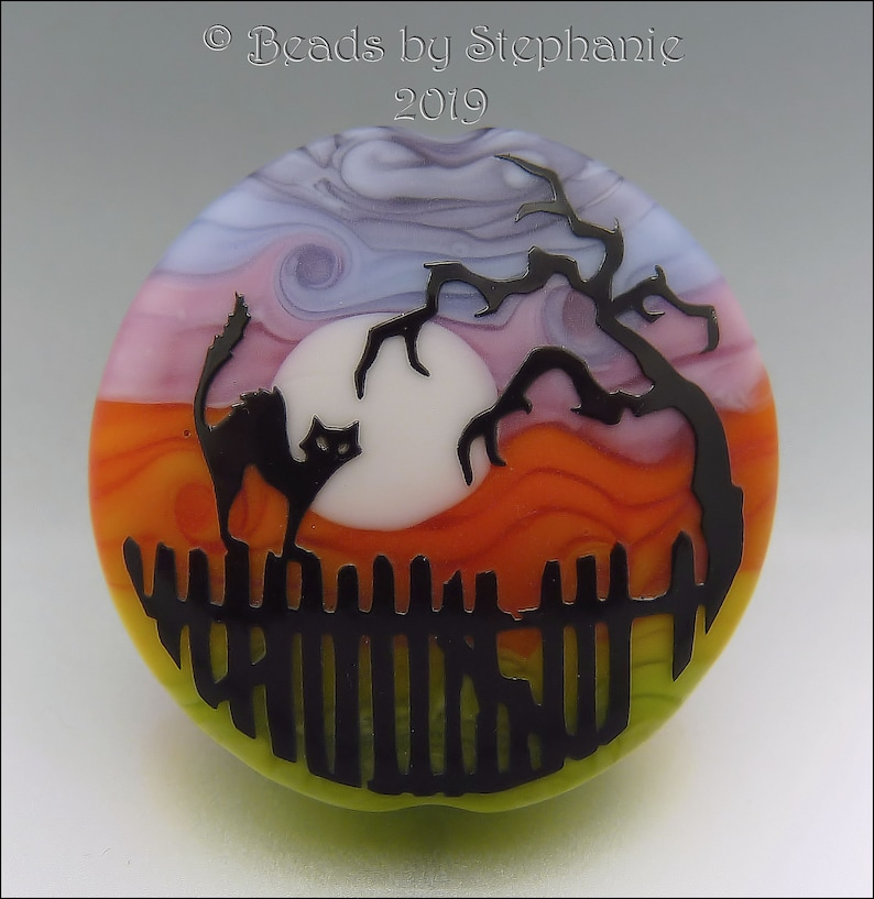 SPOOKY CAT on a FENCE   Sandblasted Lampwork Focal Bead   image 0
