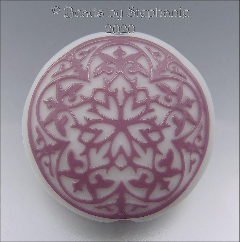 PINK & WHITE  Sandblasted Lentil Focal Bead  Made to Order  image 0