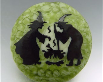 WITCH'S BREW - Sandblasted Lampwork Focal Bead  –  Made to Order - Halloween Pendant Bead - by Stephanie Gough sra fhfteam leteam
