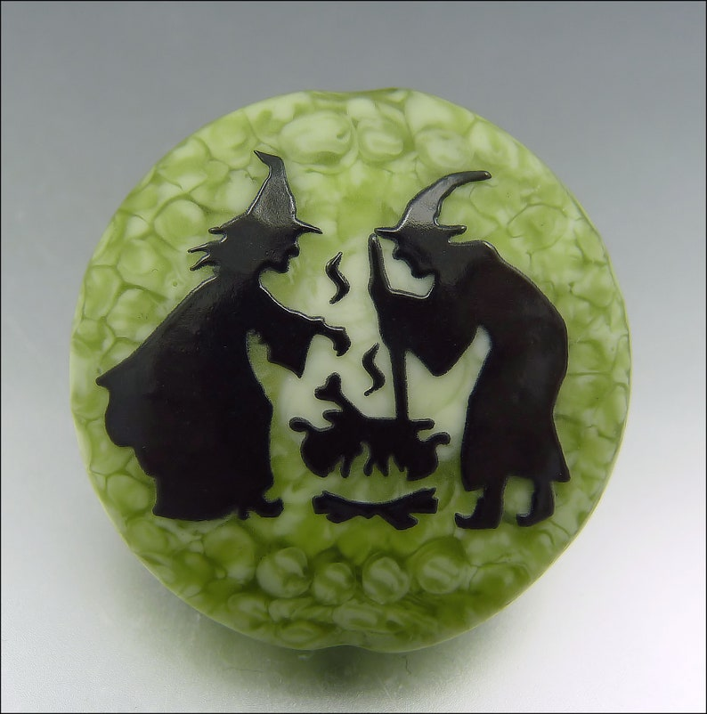 WITCH'S BREW  Sandblasted Lampwork Focal Bead    Made to image 0