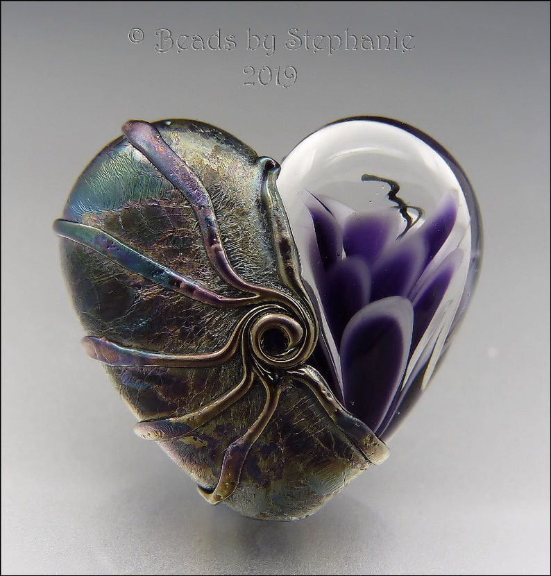 PURPLE AND METAL  Hearts & Flowers Series   Made to Order  image 0