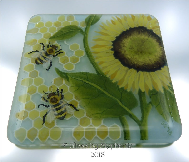 SUNFLOWER  Bees & Honeycomb  Hand painted and Fused Glass image 0