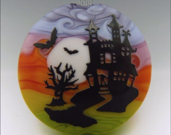 HAUNTED HOUSE –  Sandblasted Lampwork Focal Bead  –  Made to Order - Halloween Pendant Bead - by Stephanie Gough sra fhfteam leteam