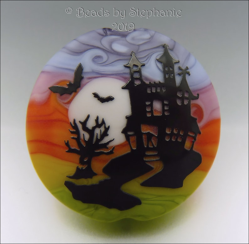 HAUNTED HOUSE   Sandblasted Lampwork Focal Bead    Made to image 0