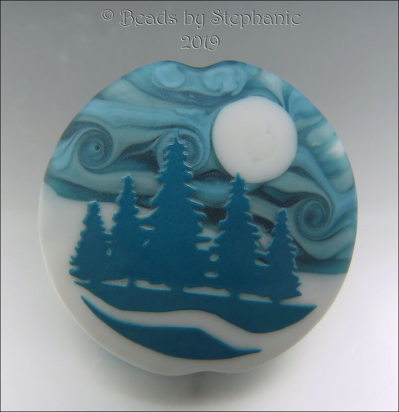 WINTER FOREST   Sandblasted Lampwork Focal Bead    Made to image 0