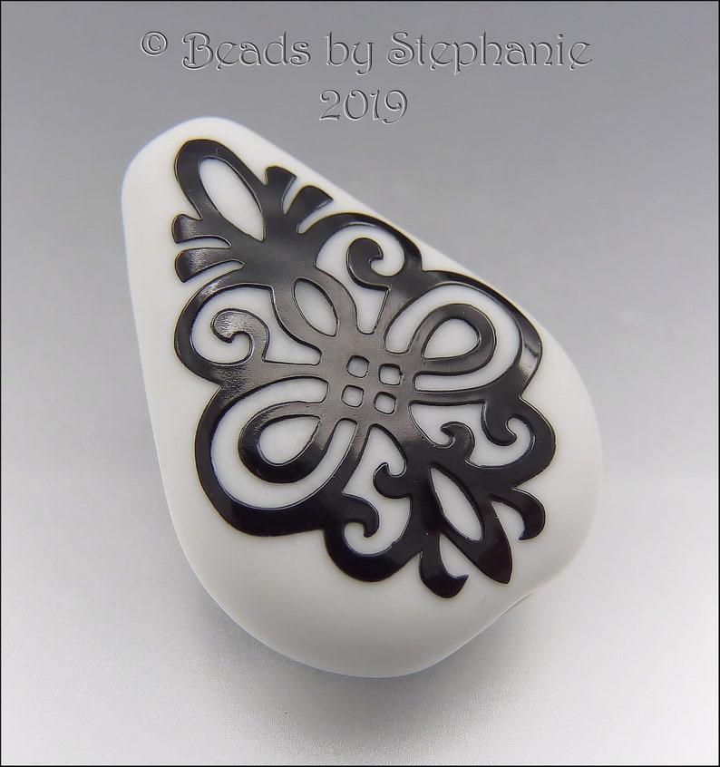 BLACK & WHITE SCROLLS  Sandblasted Teardrop Focal Bead  image 0