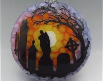 CEMETERY AT SUNSET –  Sandblasted Lampwork Focal Bead  –  Made to Order - Halloween Pendant Bead - by Stephanie Gough sra fhfteam leteam