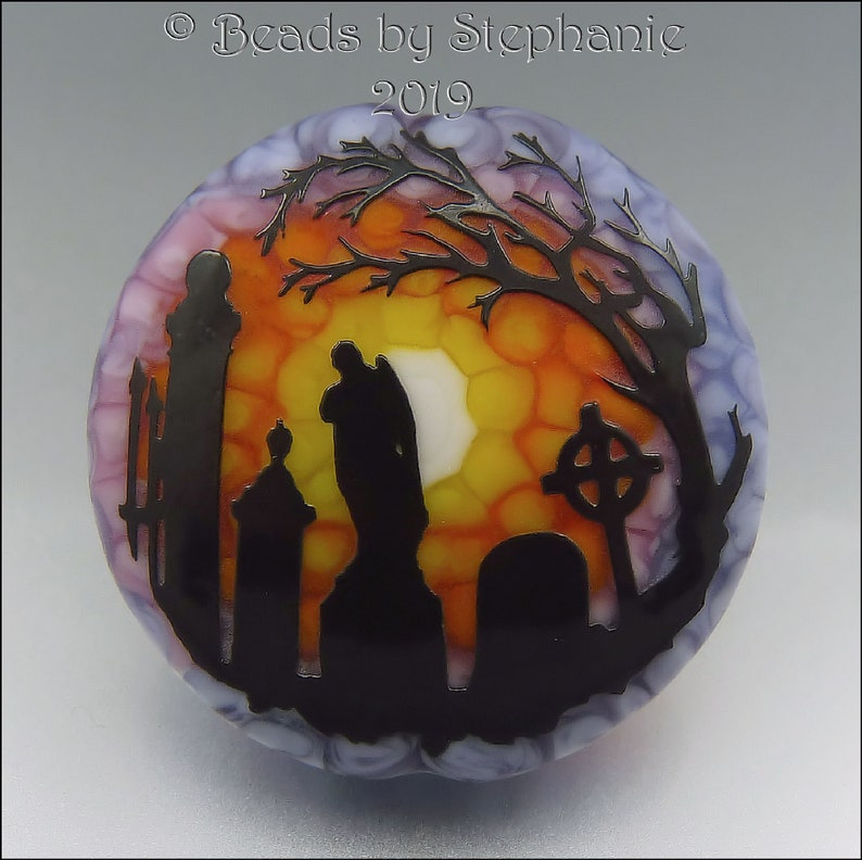 CEMETERY AT SUNSET   Sandblasted Lampwork Focal Bead    Made image 0