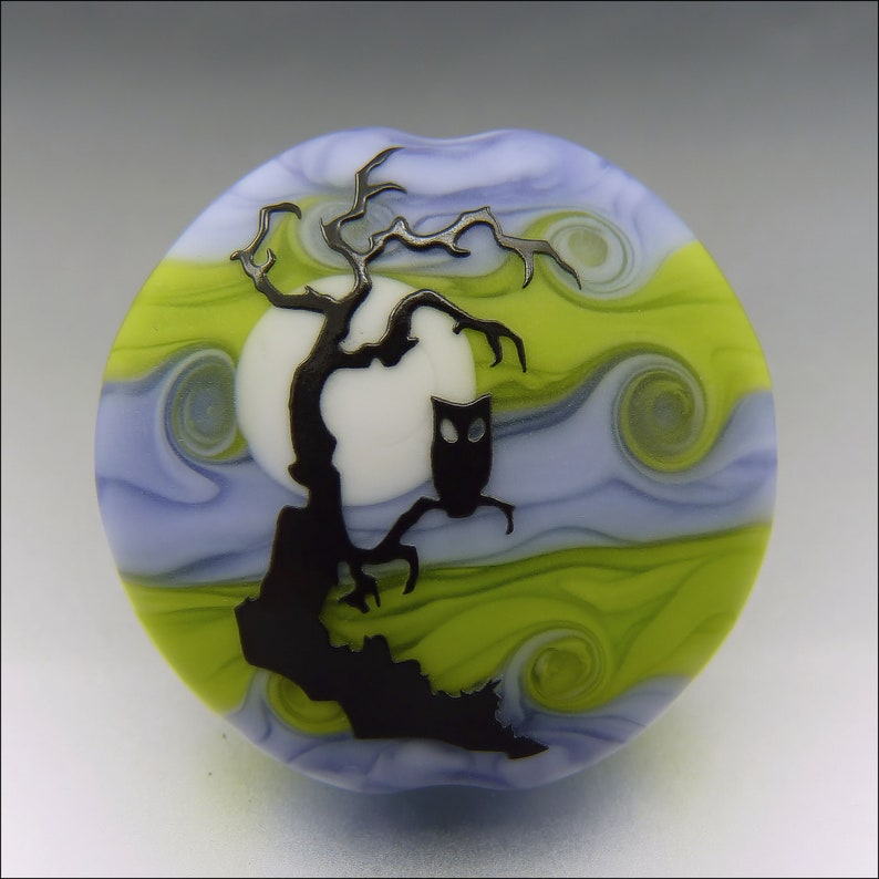SPOOKY OWL   Sandblasted Lampwork Focal Bead    Made to image 0