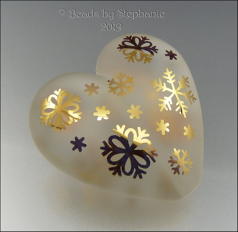 GOLDEN SNOWFLAKES  Sandblasted Heart Bead  Made to Order  image 0