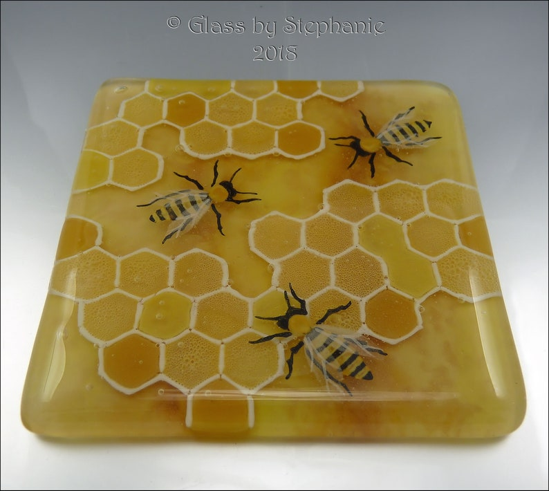 BEES AND HONEYCOMB  Hand painted and Fused Glass Coaster  by image 0