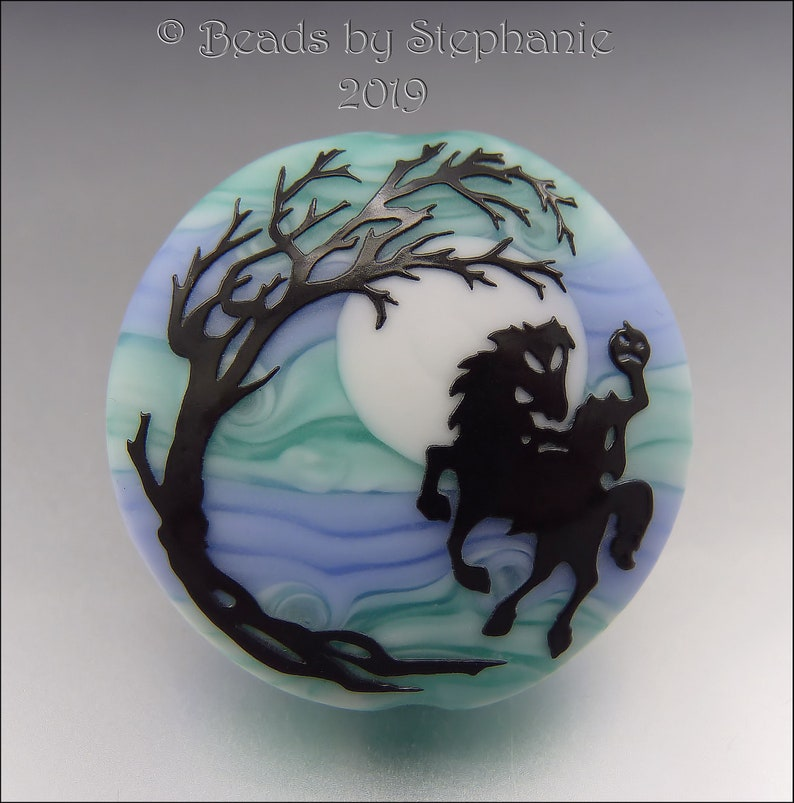HEADLESS HORSEMAN   Sandblasted Lampwork Focal Bead    Made image 0