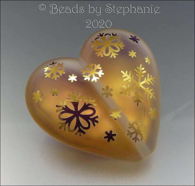 GOLDEN GLOWING SNOWFLAKES  xl size  Sandblasted Heart Bead  image 0