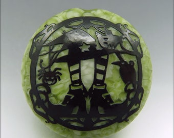 WITCH'S SHOES - Sandblasted Lampwork Focal Bead  –  Made to Order - Halloween Pendant Bead - by Stephanie Gough sra fhfteam leteam